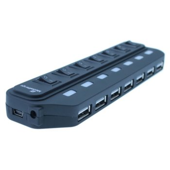 USB хъб MEDIARANGE MRCS504, 7 порта, 7x USB Type-A 2.0, превключвател за всеки порт, черен image