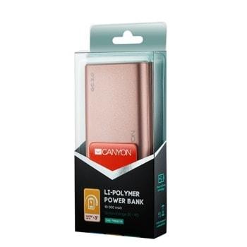 Външна батерия /power bank/ Canyon CND-TPBQC10RG, 10000 mAh, 5V/2A, 9V/2A, micro USB, USB Type C, златиста, Qiuck Charge 3.0 image