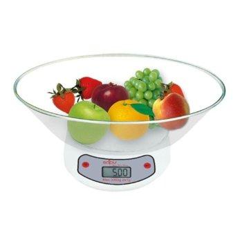 Кухненски кантар SAPIR SP 1651 C1, дигитален, до 5 кг, точност до 1гр, LCD дисплей, автоматично и ръчно изключване, прозрачен image