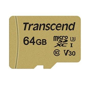 Карта памет 64GB microSDXC, с SD адаптер, Transcend 500S, Class UHS-I U3, скорост на четене 95MB/s, скорост на запис 60MB/s image