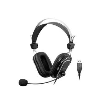 Слушалки A4Tech HU-50, микрофон, контрол на звука, USB, черни image