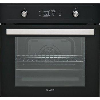 Фурна за вграждане Sharp K-60V19BQM, 69л. обем, 9 програми, турбо нагревател във фурната, 5 нива на готвене, енергиен клас А, черна image