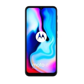 """Смартфон Motorola MOTO E7 Plus (син), поддържа 2 sim карти, 6.5"""" (16.51 cm) IPS дисплей, осемядрен Snapdragon 460 1.8 GHz, 4GB DDR4, 64GB Flash памет (+ microSD слот), 48.0 + 2.0 & 8.0 Mpix камера, Android image"""