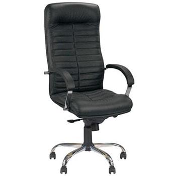Директорски стол Orion Steel, до 120кг, естествена кожа, хромирана база, коригиране височина, мултиблок механизъм, антишок система, черен image