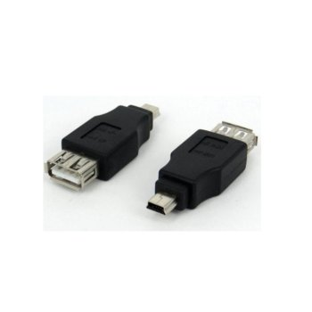 Преходник, от USB A(ж) към USB Mini B(м), черен image