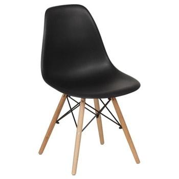 Трапезен стол Carmen 9957 S, до 100кг, полипропилен, дървена база, черен image