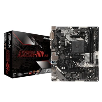 Дънна платка ASRock A320M-HDV R4.0, A320, AM4, PCIe (HDMI&DVI-D&D-Sub), 4x SATA3 6.0 Gb/s, 1x Ultra M.2 Socket, 4x USB 3.1, micro ATX image