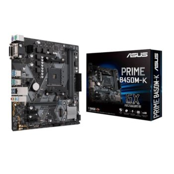 Дънна платка Asus PRIME B450M-K, B450, AM4, DDR4, PCI-E (DVI-D & VGA), 4x SATA 6Gb/s, 1x M.2 slots, 2 x USB 3.1 Gen 2 Type-A, mATX image