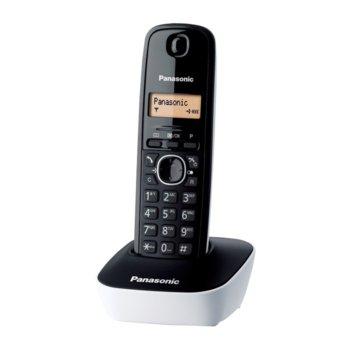 Безжичен телефон Panasonic KX-TG1611, течнокристален черно-бял дисплей, бял image