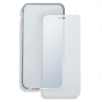 Комплект Калъф за LG Q6, удароустоичив, термополиуретан, 4smarts 360° Protection Set, Висококачествен стъклен скрийн протектор (защитно покритие) за дисплея на вашето мобилно устройство (Tempered Glass), прозрачни image