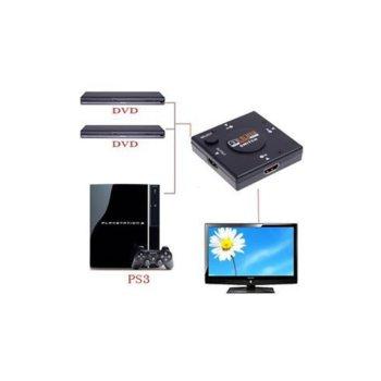 Видео сплитер Estillo, 3x HDMI(ж) входа към HDMI(ж) изход, 2.5Gbps, Full HD image