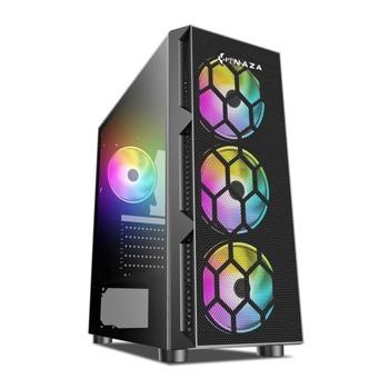 Кутия Inaza Starfire, ATX/mATX/mITX, 1x USB 3.0, прозорец, RGB подсветка, черна, без захранване image