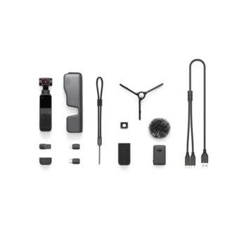 Екшън камера DJI OSMO Pocket 2 Creator combo, камера за екстремен спорт, 4K@60fps, 64MPx камера, до 140 мин. време за работа, с гимбал, 8x Slow motion, черен image
