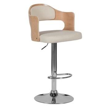 Бар стол Carmen 4045, до 100кг, еко кожа, хромирана база, газов амортисьор, коригиране на височина, крем image