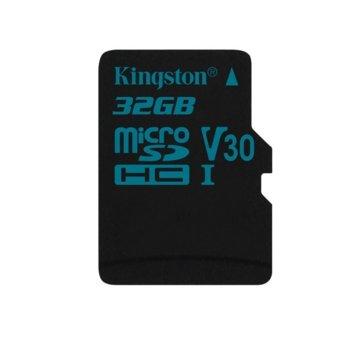 Карта памет 32GB microSDHC, Kingston Canvas Go!, Class 10 UHS-I V30, скорост на четене 90 MB/sec, скорост на запис 45 MB/sec  image