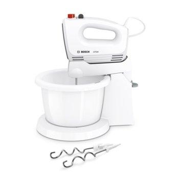 Миксер Bosch MFQ2520B, 375 W, 4 степени на работа, с турбо, бъркалки за тесто, бял image