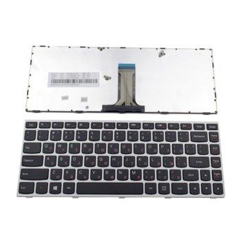 Клавиатура за лаптоп Lenovo, съвместима с модел 500-14ISK, US, с кирилица, с рамка, сива image