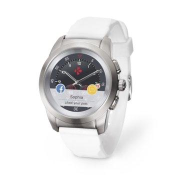"Хибриден смарт часовник MyKronoz ZeTime Petite, механични стрелки, 1.22"" (3.09 cm) TFT сензорен дисплей, Bluetooth 4.2, до 3 дни време за работа в режим Smart, водоустойчив, сребрист-бял image"