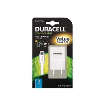 Зарядно устройство Duracell DMAC12W-EU, 5V/1A, 5W + кабел USB(м) към Micro USB, бяло image