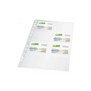 Джоб за визитки Gera Folien, формат А4, събира 20бр. еизитки, прозрачен image