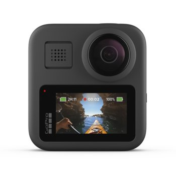 Екшън камера GoPro Max, камера за екстремен спорт, 5K(4992x2496 pixels)@60fps, 360 градуса видео, водоустойчив, черен image