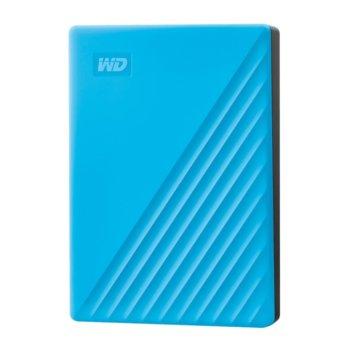 Твърд диск 4TB, Western Digital My Passport, син, външен, USB 3.2 Gen 1 image