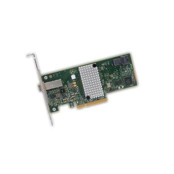Контролер Broadcom SAS 9300-4I4E, от PCI-Express 3.0 x8(м) към 1x MiniSAS HD SFF8643 и 1x Mini-SAS HD SFF8644(ж), SATA/SAS 6Gb/12Gb/s, Fusion MPT 2.5 image