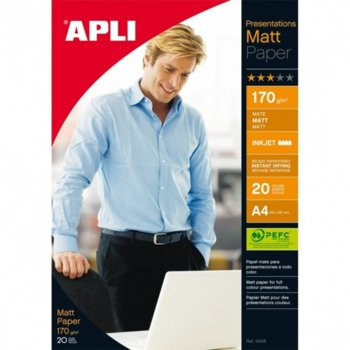 Фотохартия Apli Mat, A4, матова, 170 g/m2, 20 листа image
