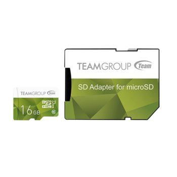 Карта памет 16GB microSDXC Team Group Color с адаптер, Class 10 UHS-I, скорост на четене 80 MB/s, скорост на запис 20 MB/s image