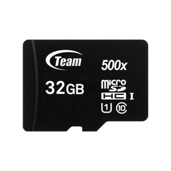 Карта памет 32GB microSDHC Team Group с адаптер, Class 10 UHS-I, скорост на четене 90 MB/s, скорост на запис 15 MB/s image