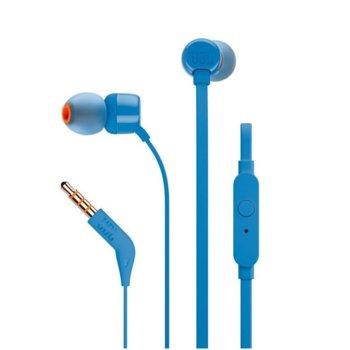 Слушалки JBL T110, микрофон, сини image