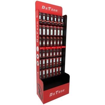 Подов стелаж DeTech DE-S01, 6x места за закачалка, 600x300x1800, Черен/Червен image