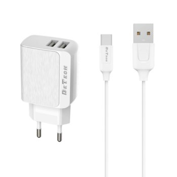 Зарядно устройствo DeTech DE-09, от шуко към 2х USB, 5V/2.4A, Бял, с USB Type-C кабел 1.0m image