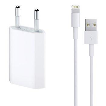 Зарядно устройство от контакт към 1 x USB A(ж), 5V/1A 220V, бяло, с кабел за iPhone от USB A(м) към Lightning, 1.0m image