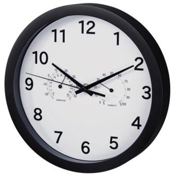Часовник Hama Pure Plus 186342, стенен, аналогово указание, термометър, показване на вътрешна влажност, черен image