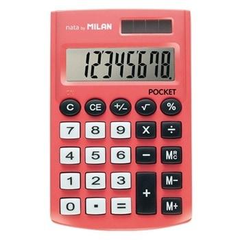Калкулатор Milan Pocket, 8 разряден дисплей, джобен, 3 memory бутона и функция корен квадратен, автоматично изключване, червен image