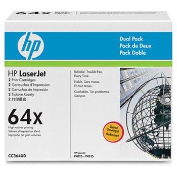 КАСЕТА ЗА HP LaserJet P4015/P4515 - Black - 2 Pack - 64X - P№ CC364XD - заб.: 24 000k image