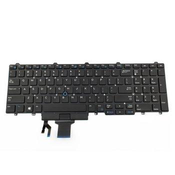 Клавиатура за лаптоп Dell, съвместима със серия E5550, черна, без рамка, US, с пойнт стик, с подсветка, с малък ентър image