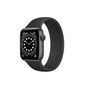 """Смарт часовник Apple Watch Series 6, 40mm, 1.57"""" (3.99 cm) Retina OLED дисплей, Bluetooth, 50m water resistant, до 18 часа време на работа, Black Sport Band - Regular, сив image"""