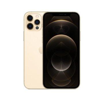 """Смартфон Apple iPhone 12 Pro (Gold), 6.1"""" (15.49 cm) Super Retina XDR OLED дисплей, шестядрен A14 Bionic, 6GB RAM, 512GB Flash памет, 12.0 + 12.0 + 12.0 & 12.0 MPix камера, iOS 14, 189 g image"""