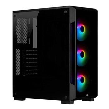 Кутия Corsair iCUE 220T RGB (CC-9011190-WW), ATX/Micro ATX/Mini-ITX, 2x USB 3.0, прозорец, черна, без захранване image