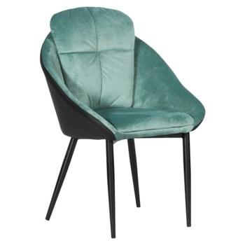 Трапезен стол Carmen VOLSK, до 100кг. макс. тегло, дамаска/еко кожа, метална база, синьо-зелен image