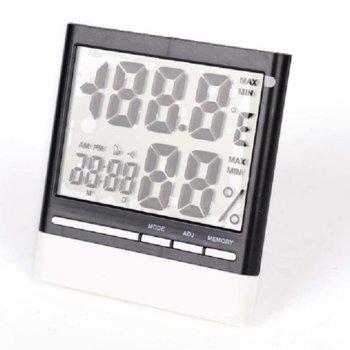 Електронна метеостанция Royal CX-318, термометър, часовник, дата, измерване на влажност, LED Осветление, бяла image