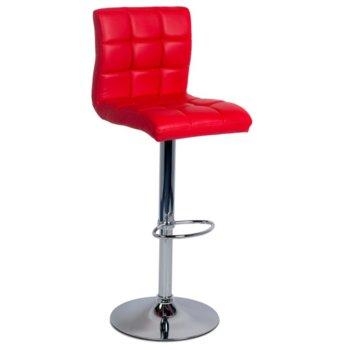 Бар стол Carmen 3063, хромирана база, ринг за поставяне на краката, еко кожа, механизъм за регулиране на височината, червен image