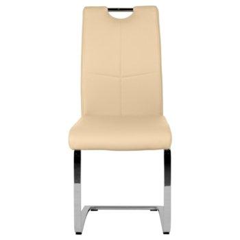 Трапезен стол Carmen 370-1, Еко кожа, 100 кг. максимално натоварване, кремав image