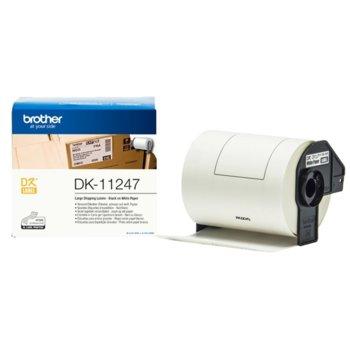 Лента за етикетен принтер Brother DK-11247, черно върху бяло, 103mm x 29.6m image