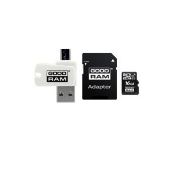 Карта памет 16GB microSDHC с адаптер и четец, Goodram M1A4-0160R11, Class 10 UHS-I, скорост на четене 60 MB/Sec, скорост на запис 10 MB/Sec image