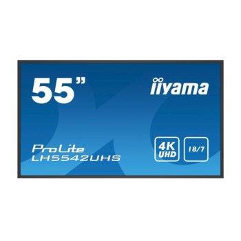 "Публичен дисплей IIYAMA PROLITE LH5542UHS-B1, 54.6"" (138.6 cm) 4K/UHD LED панел, 2GB DDR4, 16GB eMMC, LAN, HDMI, DVI-D, VGA image"