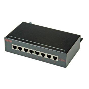 Пач панел Roline 26.11.0310, 8x порта, екраниран, Cat 5e, Class D, EIA/TIA 568A, STP, черен image