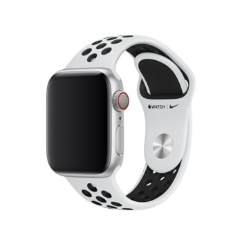 Каишка за смарт часовник Apple Watch (40mm) Nike Band: Pure Platinum/Black Nike Sport Band - S/M & M/L, бяла image